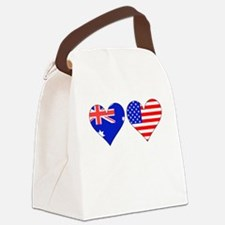 Australian American Hearts Canvas Lunch Bag