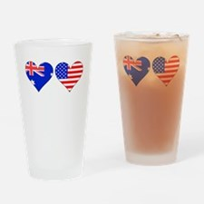 Australian American Hearts Drinking Glass