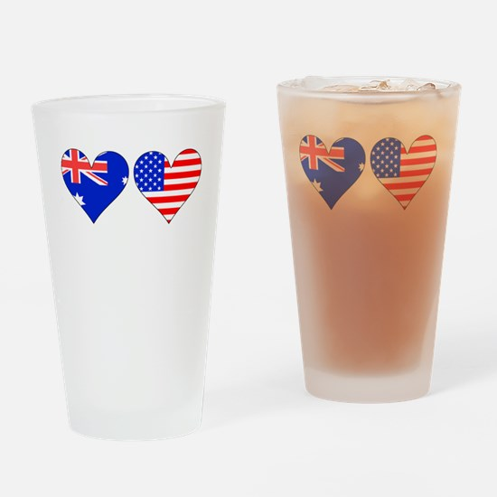 Australian American Hearts Drinking Glass