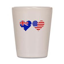 Australian American Hearts Shot Glass
