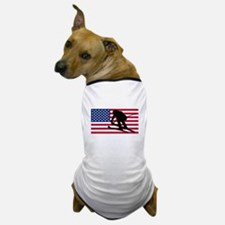 Ski Racer American Flag Dog T-Shirt