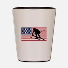 Ski Racer American Flag Shot Glass