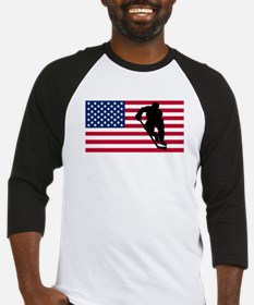 Hockey Player American Flag Baseball Jersey