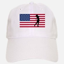 Woman Golfer American Flag Baseball Baseball Baseball Cap