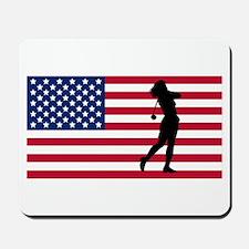 Woman Golfer American Flag Mousepad
