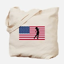 Woman Golfer American Flag Tote Bag