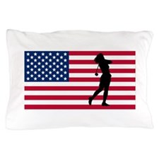 Woman Golfer American Flag Pillow Case