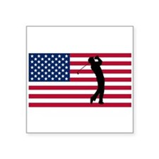 Golfer American Flag Sticker