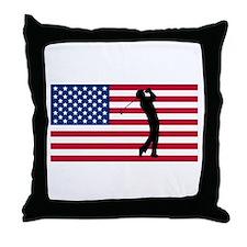 Golfer American Flag Throw Pillow