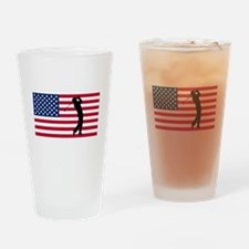 Golfer American Flag Drinking Glass