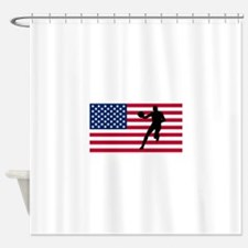 Basketball Player American Flag Shower Curtain