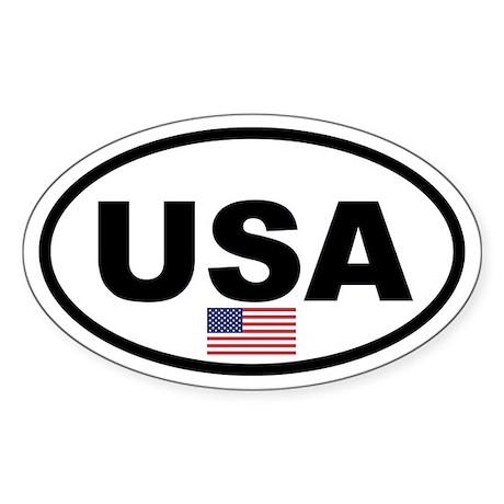 Basic USA Flag Oval Sticker