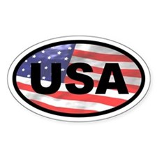 USA Flag Oval Decal