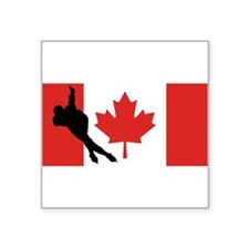 Speed Skater Canadian Flag Sticker
