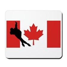 Speed Skater Canadian Flag Mousepad