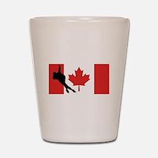 Speed Skater Canadian Flag Shot Glass