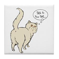 Cream Persian Tail Talk Tile Coaster