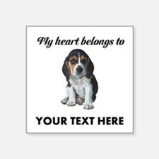 "Personalized Beagle Custom Square Sticker 3"" x 3"""