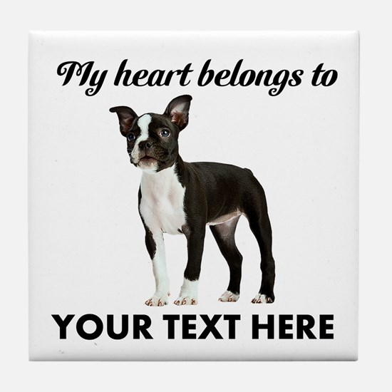 Personalized Boston Terrier Tile Coaster