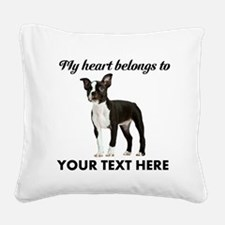 Personalized Boston Terrier Square Canvas Pillow