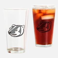 Badger Head Side Isolated Cartoon Drinking Glass