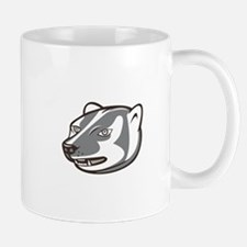Badger Head Side Isolated Cartoon Mugs