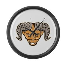 Ram Head Isolated Cartoon Large Wall Clock
