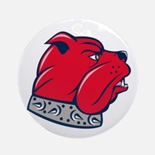 Red Bulldog Head Isolated Cartoon Ornament (Round)
