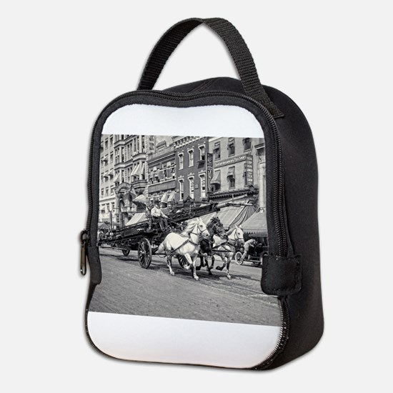 Vintage Horse Drawn Fire Truck Neoprene Lunch Bag