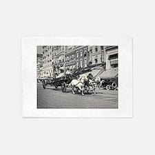 Vintage Horse Drawn Fire Truck (bla 5'x7'Area Rug