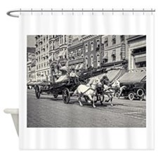 Vintage Horse Drawn Fire Truck (bla Shower Curtain