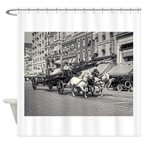 Vintage Horse Drawn Fire Truck (bla Shower Curtain
