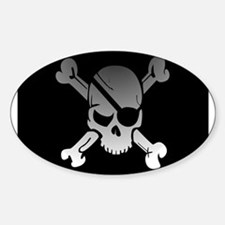 Black, gray and white skull and crossbones Decal