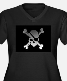 Black, gray and white skull and Plus Size T-Shirt