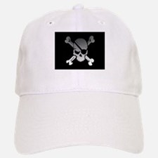 Black, gray and white skull and crossbones Baseball Baseball Cap