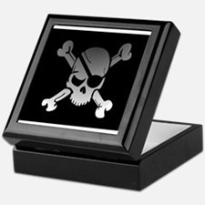 Black, gray and white skull and cross Keepsake Box