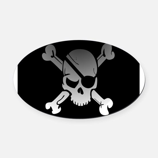 Black, gray and white skull and cr Oval Car Magnet