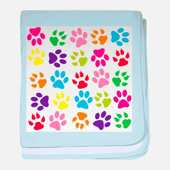 Multiple Rainbow Paw Print Design baby blanket