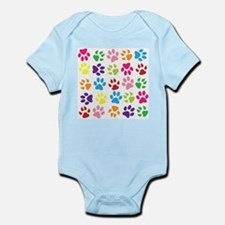 Multiple Rainbow Paw Print Design Body Suit