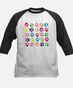 Multiple Rainbow Paw Print Design Baseball Jersey