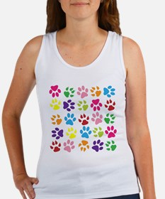 Multiple Rainbow Paw Print Design Tank Top