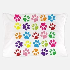Multiple Rainbow Paw Print Design Pillow Case
