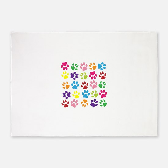 Multiple Rainbow Paw Print Design 5'x7'Area Rug