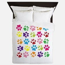 Multiple Rainbow Paw Print Design Queen Duvet