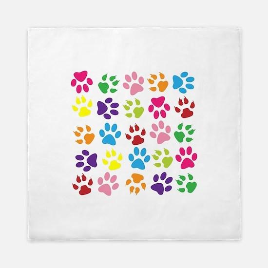 Multiple Rainbow Paw Print Design Queen Duvet