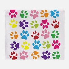 Multiple Rainbow Paw Print Design Throw Blanket