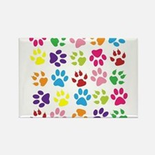 Multiple Rainbow Paw Print Design Magnets
