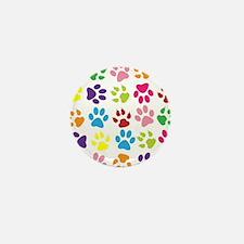 Multiple Rainbow Paw Print D Mini Button (10 pack)