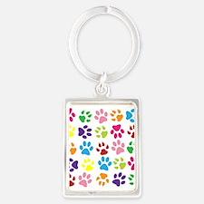 Multiple Rainbow Paw Print Design Keychains