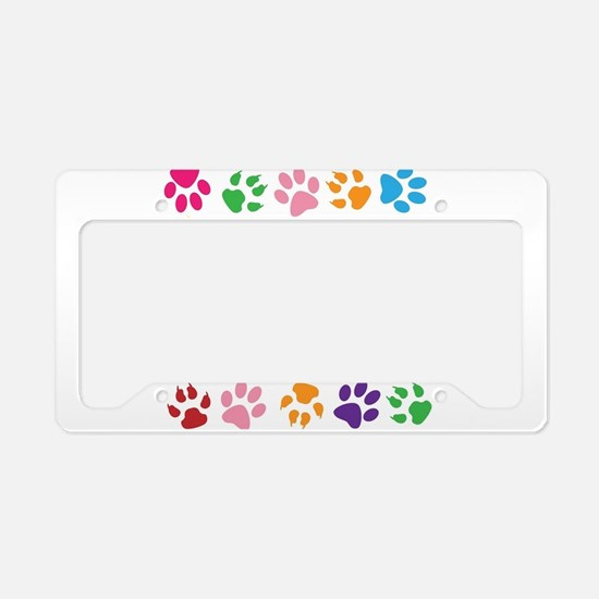 Multiple Rainbow Paw Print De License Plate Holder